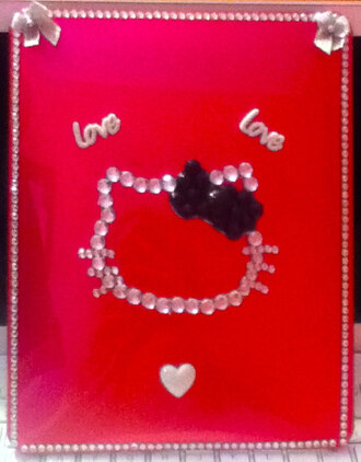 jewels ipad hello kitty rhinestones love phone cover bow