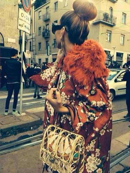 coat kimono floral kimono jacket orange faux fur oriental print oriental flower