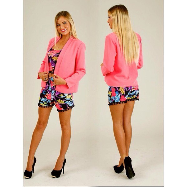 jacket pom poms flowers multiprint multicolor blazer pompom shorts crop tops crop tops embrodering two-piece multicoloured hot swim tumblr cute