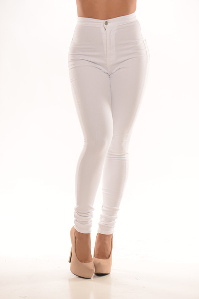 Waist Skinny Jeans - White | Fashion Nova