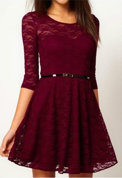 a6f3f3792b4 dress burgundy dress graduation dress lace dress long sleeves red dress  beautiful halo burgundy fashion style