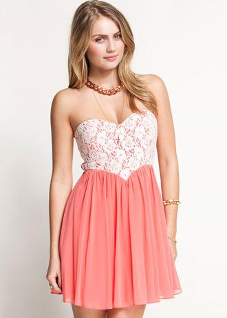 dress lace pink chiffon necklace crochet floral midi short bandeau sweatheart sweden fashion swedishclothes white cute pink