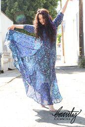 dress,maxi dress,vanessa hudgens,long sleeve dress,blue dress