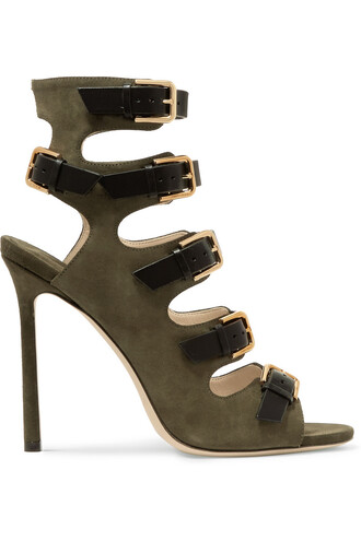 sandals leather sandals leather suede green army green shoes