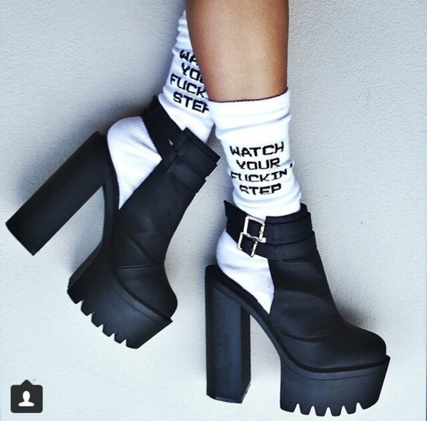 socks shoes high heels cleated sole