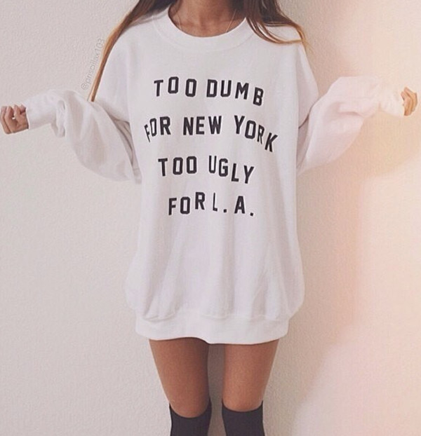sweater white oversized sweater socks shirt print ugly dumb new york l.a. white sweater crewneck new york city city stupid decision stylish funny clever