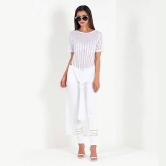top maniere de voir maxi cover up white stripes knot front bikini