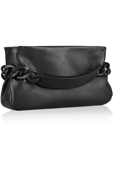 Maison Martin Margiela | Chain-embellished leather clutch | NET-A-PORTER.COM