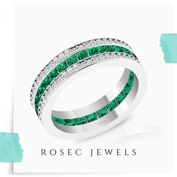 Emerald Eternity Ring, Princess Cut Diamond Wedding Band