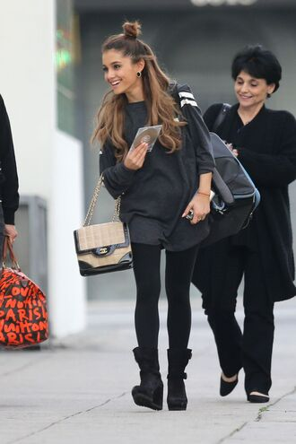 shoes chanel college sweatshirt ariana grande leggings wedges black backpack celebrity earrings shirt stripes varsity ari ari grande grey navy love tumblr cute fashion white white lines lines on shoulder striped shoulder celebirty