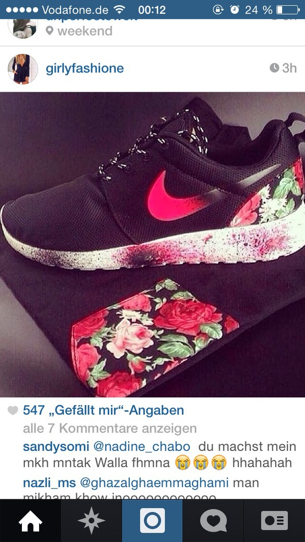 shoes nike roshe run floral floral sneakers nike sneakers nike roshe runs flowers tropical nike running shoes