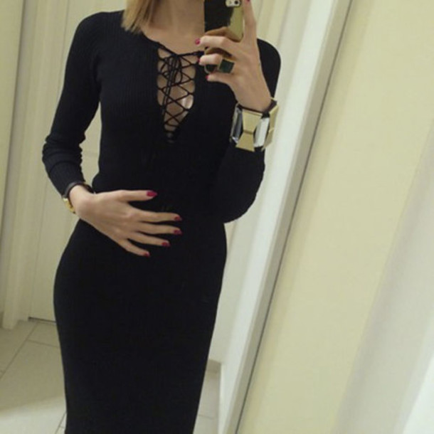 2ecab0c6c7a Dress Zara Ribbed Knitted Little Black Lace Up