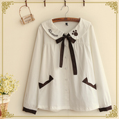 blouse,dejavu cat,kawaii,cats,white,paw,jfashion,uniform,back to school,anime,cosplay,white blouse,cute blouse,kawaii blouse,fairy kei,pastel,korean fashion,japanese fashion,ribbon,brown,long sleeves blouse,winter blouse,winter outfits,tumblr,storenvy
