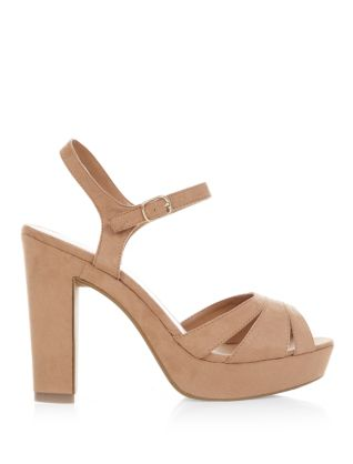Tan Strappy Ankle Strap Peep Toe Heels