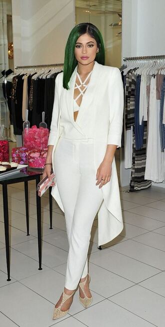 jacket blouse kylie jenner pumps all white everything bra bralette pants underwear shoes all white outfit