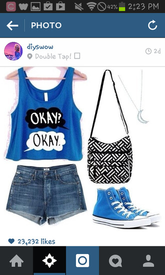 tank top blue the fault in our stars bluetank crop tops cropped tank t-shirt