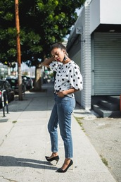 top,tumblr,polka dots,denim,jeans,blue jeans,pumps,pointed toe pumps,earrings,accessories,Accessory,shoes
