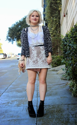 broke hell blogger cardigan grunge fluffy lace dress