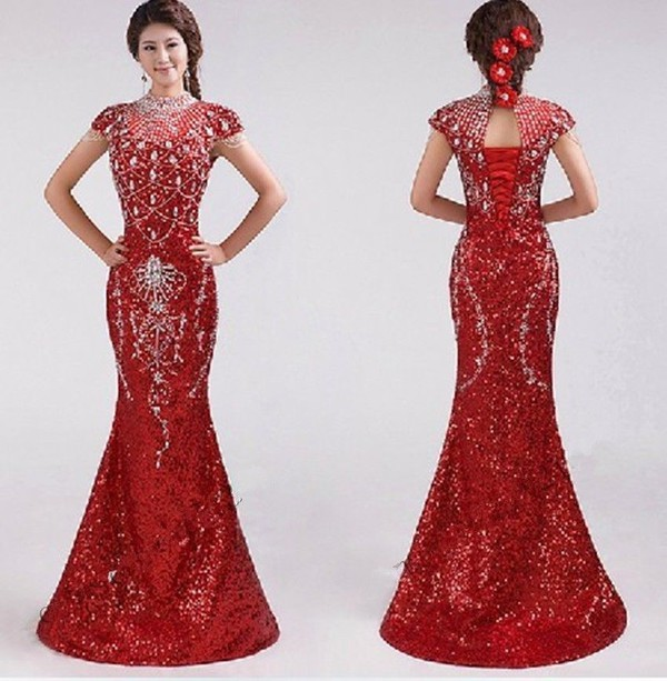 Wedding dress wedding gown cheap wedding dresses red for Long dress for wedding reception