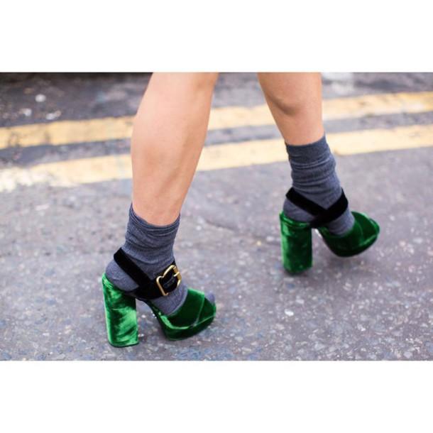 581fa746053 shoes velvet sandals sandals sandal heels high heel sandals green sandals  platform sandals socks socks and