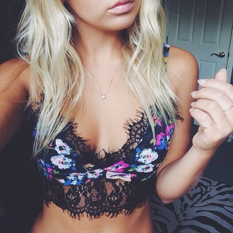top floral top bralette bralette tops bralet top lace top colourful