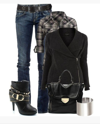blouse shirt bag shoes boots black black bag clothes jacket outfit belt plaid bracelets heels buckle buckles ankle boots purse bangle silver cuff cuff cuff bracelet coat black jacker wool top plaid shirt jeans blue jeans asymmetrical