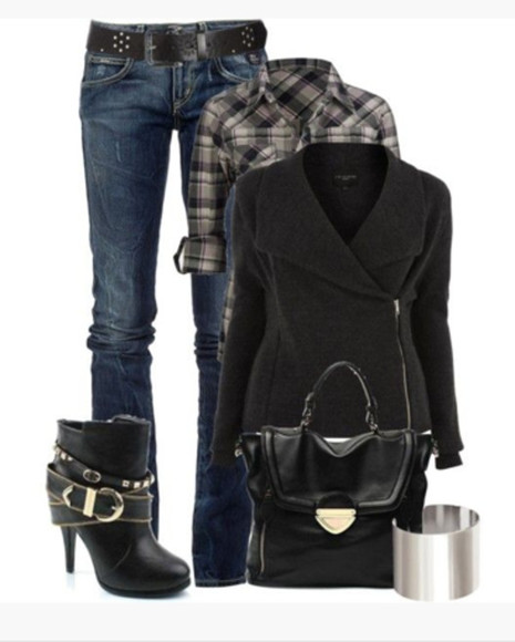 blouse shirt bangle bracelet cuff shoes boots high heels buckle buckles ankle boots bag purse black bag silver cuff cuff bracelet jacket coat black black jacker wool top plaid plaid shirt jeans belt blue jeans clothes outfit assymetrical