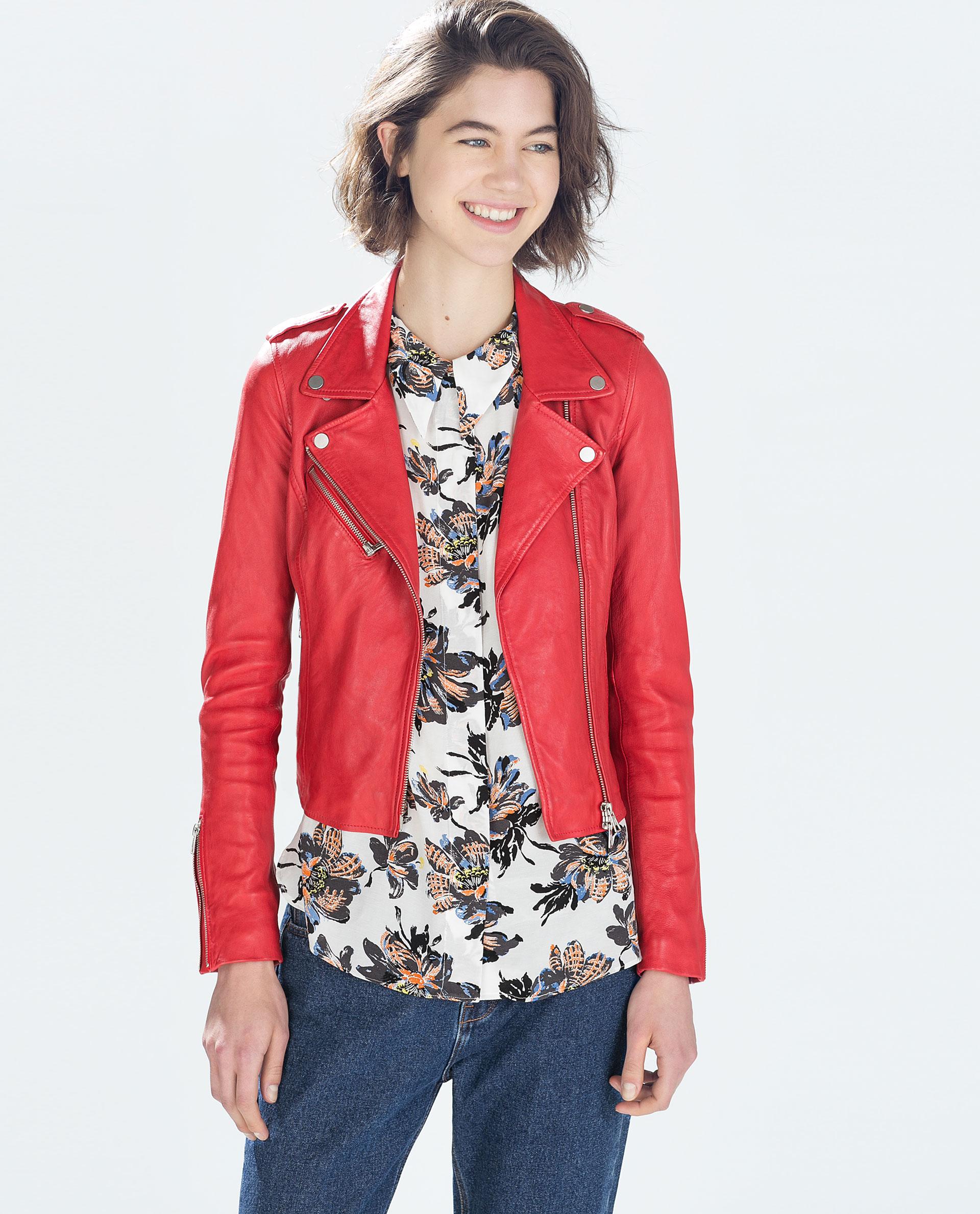 Veste cuir rouge femme zara