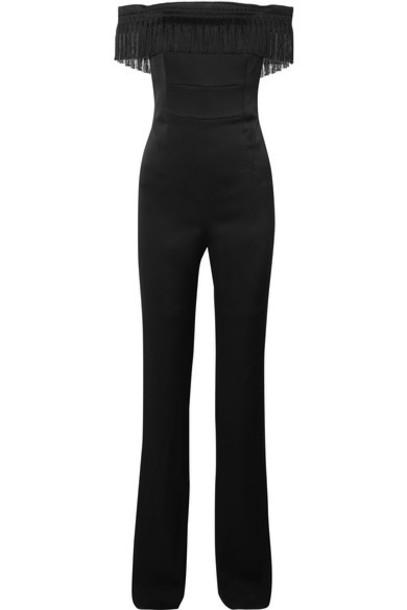 Galvan jumpsuit black satin