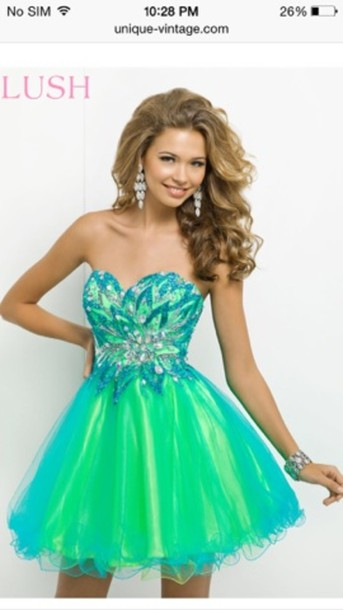 dress prom dress turquoise pattern formal event outfit short prom dress homecoming dress green party dress blue dress green dress green and blue lime green and turquoise grad dress blue/green blue and green
