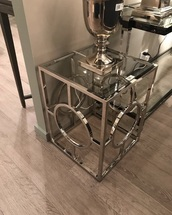 home accessory,silver,side table,glass