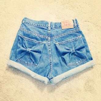 shorts bow bows jeans high waisted high waisted shorts denim shirt