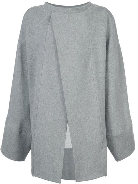 Osklen - oversized sweatshirt - women - Cotton/Polyester/Polyethylene Terephthalate (PET) - P, Grey, Cotton/Polyester/Polyethylene Terephthalate (PET)