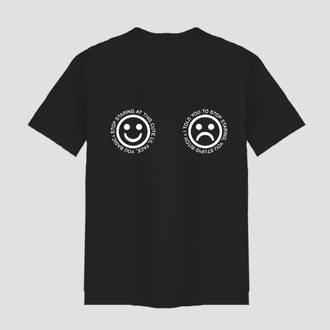 shirt black smiley quote on it