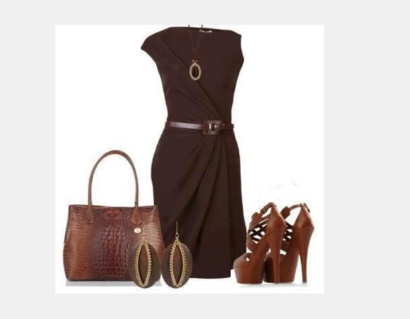 dress brown dress medium dress gathered dress short sleeve dress form fitting dress necklace high heels strap high heels earrings bag purse outfit clothes shoes