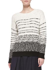 Textured stripe knit sweater