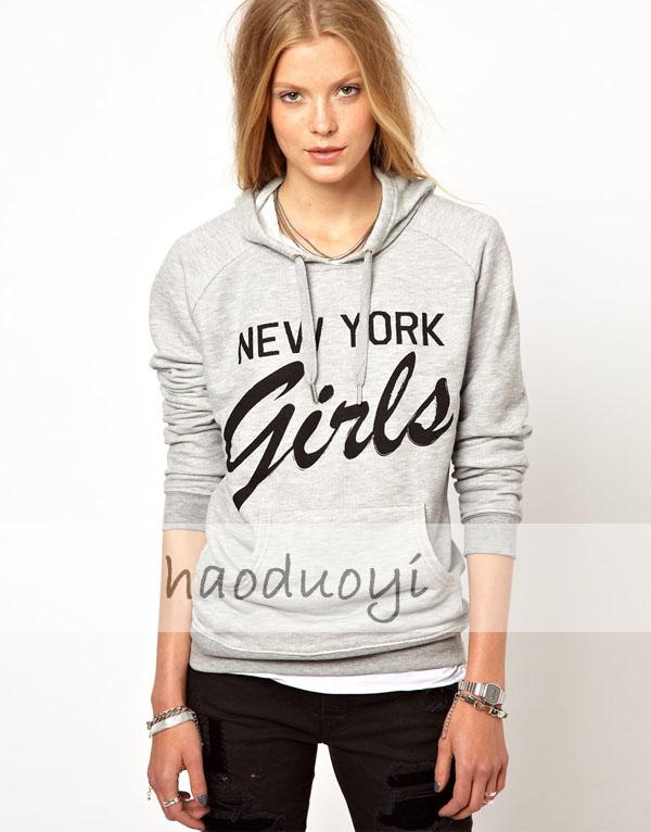 Free Shipping! Fashion women New York Girls pocket before printing gray hooded long sleeved fleece sweatshirt in stock-in Hoodies & Sweatshirts from Apparel & Accessories on Aliexpress.com