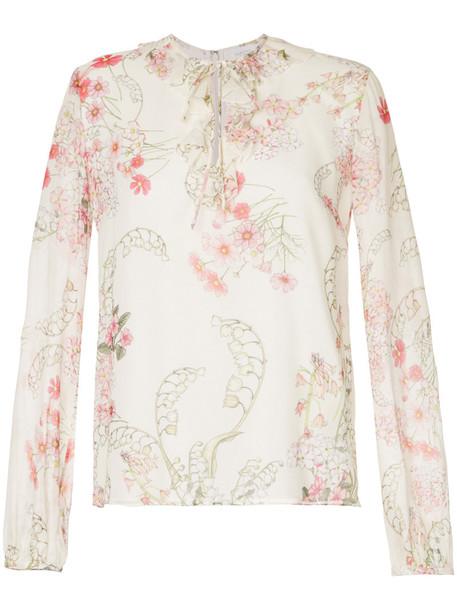 blouse women floral white print silk top