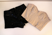 bustier,bralette,sequins,shorts,black,pink,evening outfits,pleated,high waisted,fashion,summer,july,black pants,pants,pretty,cropped,shirt