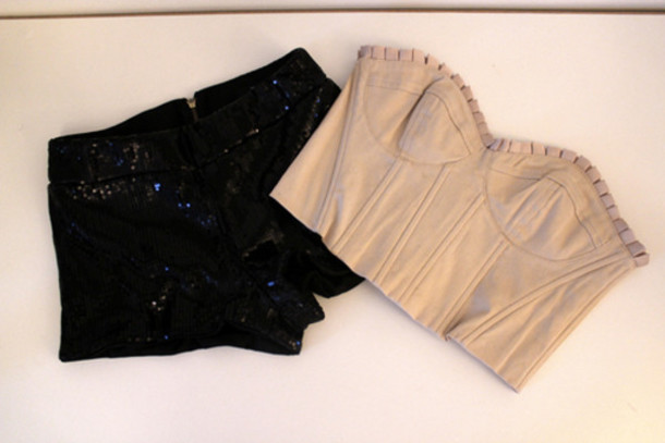 bustier bralet sequins shorts black pink evening pleated high waisted fashion summer july black pants pants pretty cropped shirt