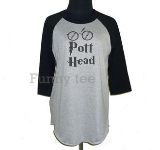 shirt pott head shirt harry potter shirt t-shirt baseball tee raglan tee movie quote on it