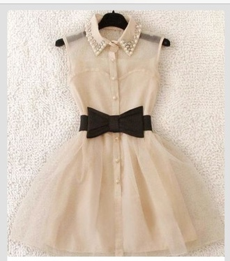 dress white dress black bow pearls pearl collar vintage dress