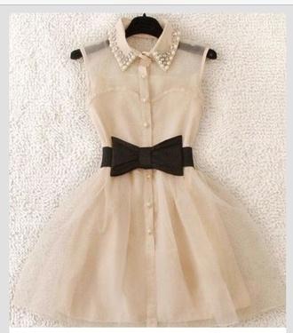 dress white dress black bow pearl pearl collar vintage dress