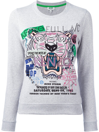 sweatshirt women tiger cotton print grey sweater