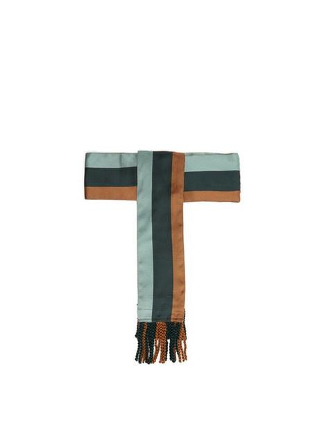 Etro - Striped Tassel End Silk Belt - Womens - Green