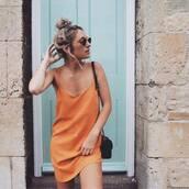 dress,orange,orange dress,summer dress,summer outfits,missguided,beach,slip dress,spaghetti strap,spaghetti straps dress