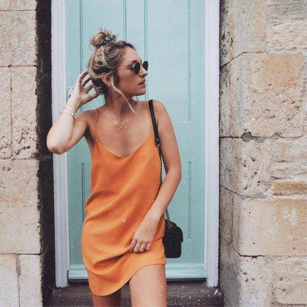 dress orange orange dress summer dress summer outfits missguided beach slip dress spaghetti strap spaghetti straps dress