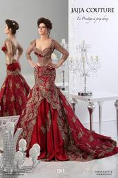 red wedding dresses,mermaid ball gowns,arabic dresses,long sleeves,2015,jajia couture dresses,lace dress,red dress,wedding dress