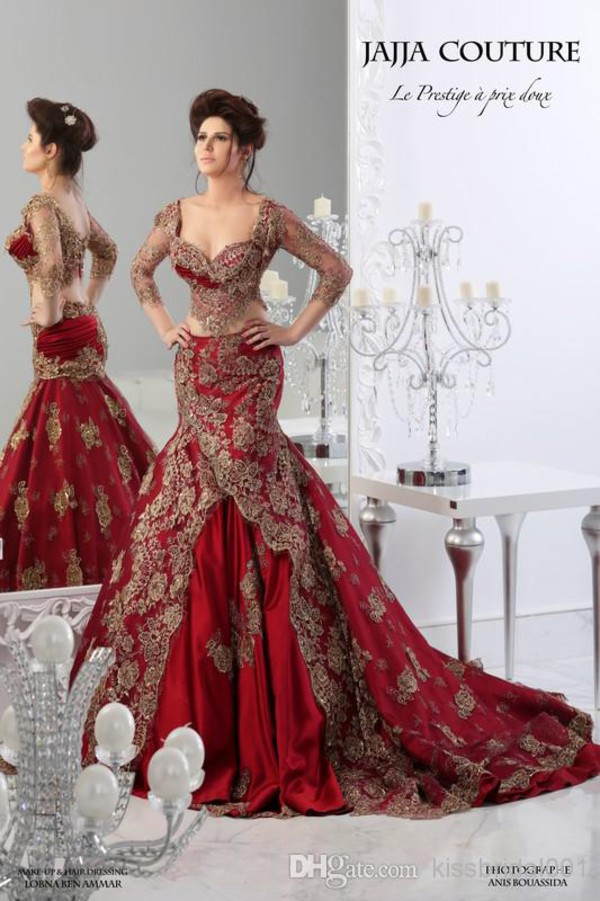 red wedding dresses mermaid ball gowns arabic dresses long sleeves 2015 jajia couture dresses lace dress red dress wedding dress