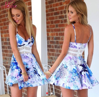 dress blue dress floral dress fashion summer dress cute dress girly dress skater dress white dress